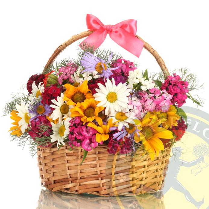 Allegria in cesto (Fiori di stagione colorati in cesto di vimini)