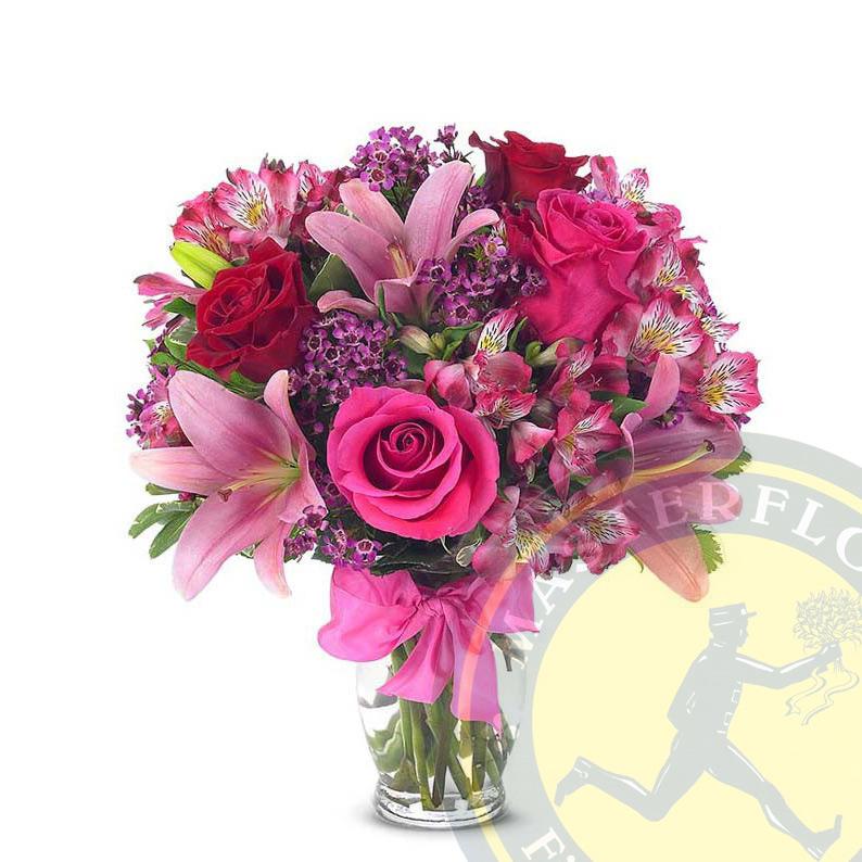 Bella Sorpresa (Gigli rosa, rose rosa e alstroemeria )