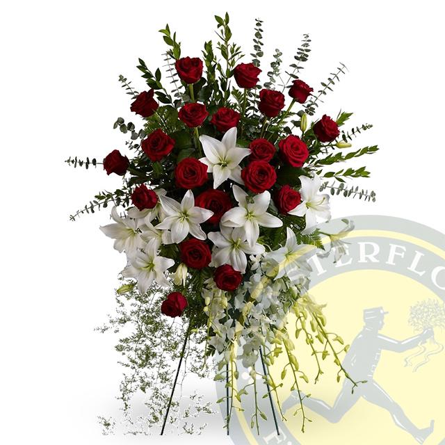 Cuscino Funebre di Rose e gigli bianchi