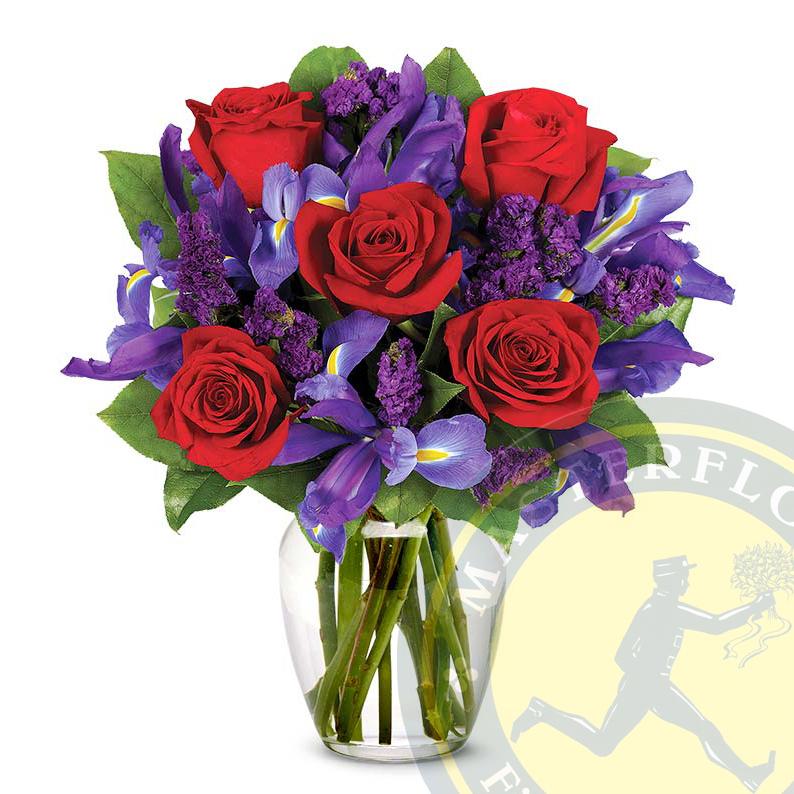 "Mazzo ""Rubino"" (Rose Rosse, Viola Statice e Iris blu)"