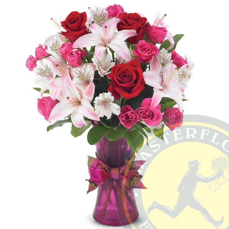 Perdono (Bouquet con Rose, Alstroemeria e Gigli)