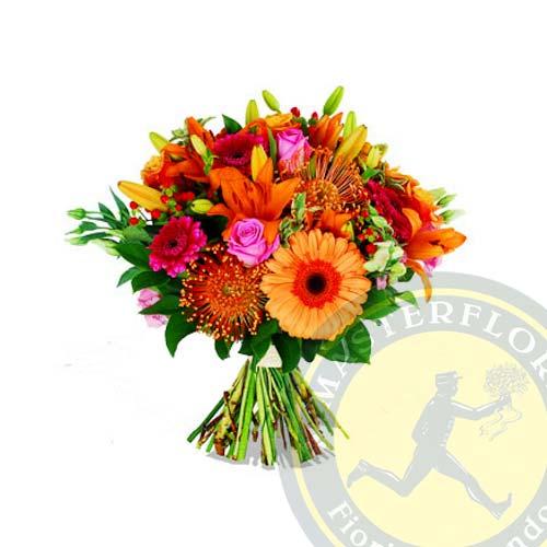 Festa di colori (Bouquet di gerbere, rose e gigli)